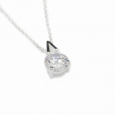 Women's silver white gem pendant necklace