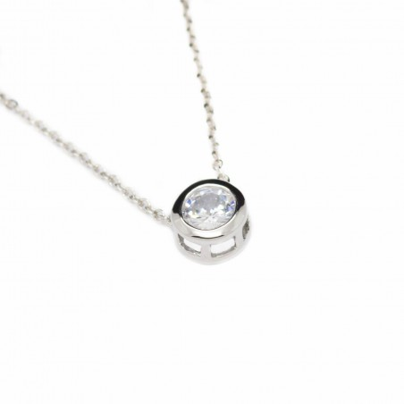 Women's white gold necklace with a round strass pendant