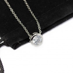Collier femme pendentif rond strass or blanc
