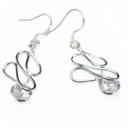 Women's dangle silver curved rod earrings