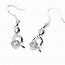 Women's dangle silver double rod earrings