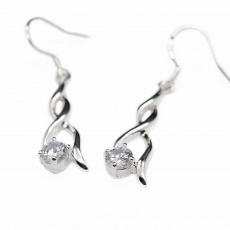 Boucles d'oreilles pendantes en argent à tige double pour femme