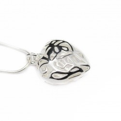 Women's silver necklace with big heart pendant