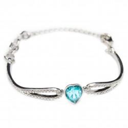 Bracelet en argent pour femme avec coeur bleu