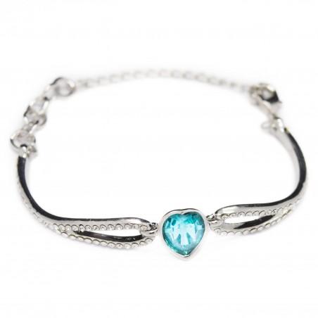 Women's silver bracelet with blue heart