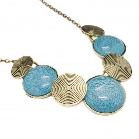 Collier femme fashion turquoise, collier fashion et vintage