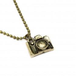 Collier sautoir pour femme avec pendentif appareil photo vintage