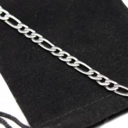 Gourmette / Bracelet acier de maille figaro pour homme