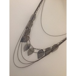 Women's fashion long necklace with leaves and several layers of chains
