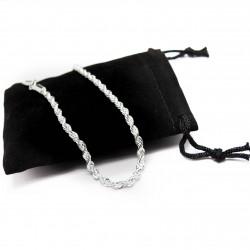 Men's or women's silver twisted chain bracelet