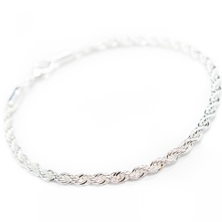Men's or women's silver twisted chain bracelet