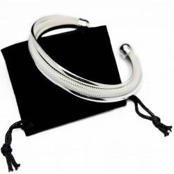 Bracelet jonc trois bandes en argent, pas cher, très classe