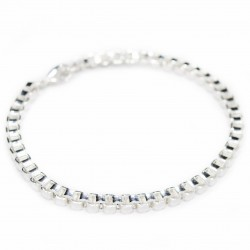 Silver square link chain bracelet