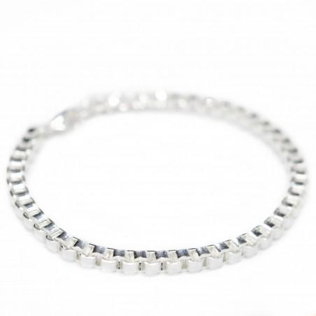 Silver square link chain bracelet