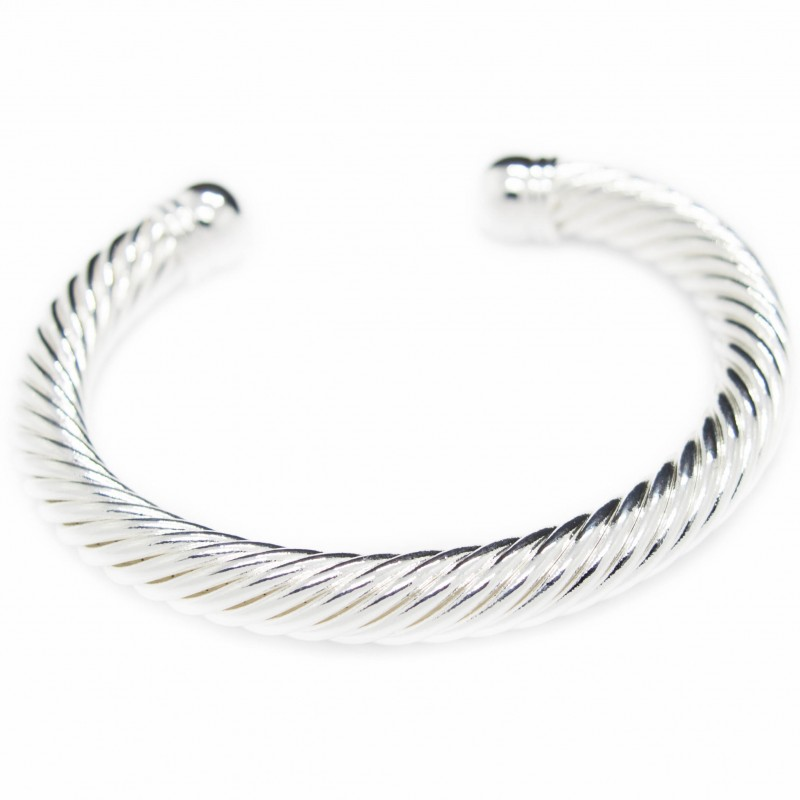 Silver twisted cuff bracelet, African style bracelet for men