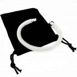 Women's silver cuff bracelet with a fine mesh texture