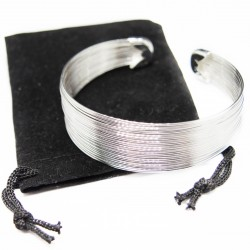 Silver multi wire cuff bracelet