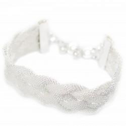 Bracelet large tressé en argent pour femme