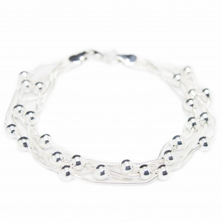 Bracelet en argent pour femme, avec des perles en argent