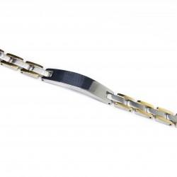 Gourmette Bracelet homme en acier, mélange de couleur acier et de doré