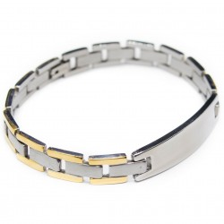 Men's steel bracelet, two-tone, steel and golden
