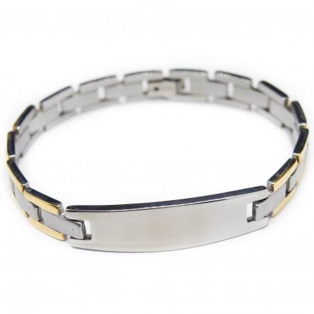 Men's steel bracelet, two-tone, steel and golden