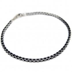 Gourmette Bracelet avec des maillons carrés noirs, pour homme et femme
