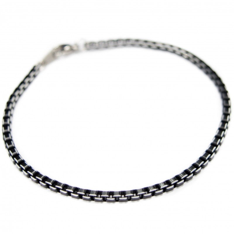 Men's or women's chain bracelet with black square links