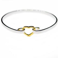 Bracelet argenté avec un coeur doré,  un bijou à prix discount