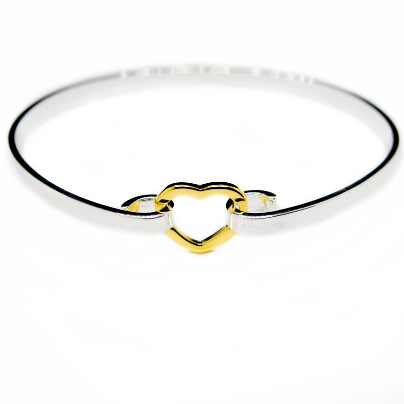 Silver bracelet with a golden heart, jewellery at a discount price