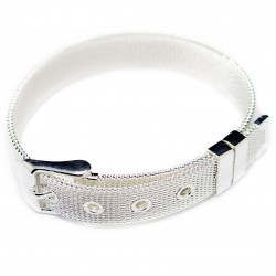 Men's or women's silver buckle bracelet