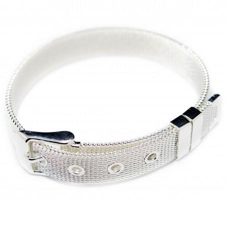 Men's or women's silver buckle bracelet