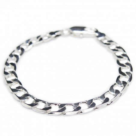 Men's silver curb chain bracelet, simple, elegant and affordable