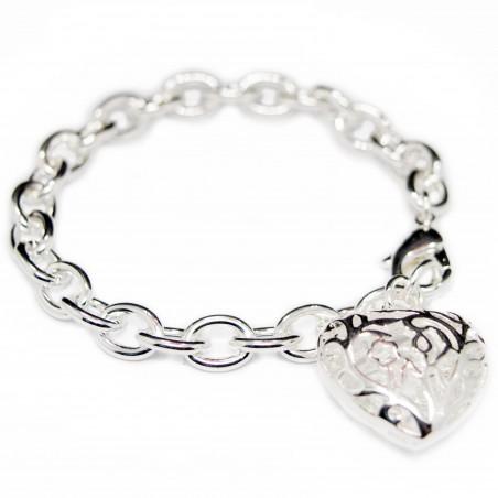 Women's silver bracelet with a big heart pendant