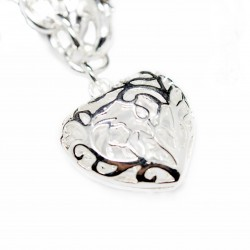 Women's silver bracelet with a big heart pendant