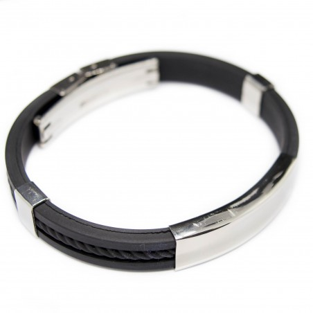 Men's bracelet, black silicone and silver