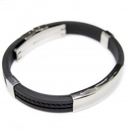 Bracelet Gourmette pour homme, en silicone noir et argent