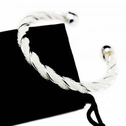 Bracelet jonc torsadé en argent, pour homme ou femme, à prix discount