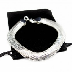 Men's silver large flat snake chain bracelet