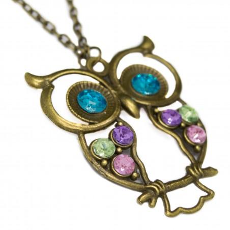 Women's fashion blue-eyed owl bronze necklace