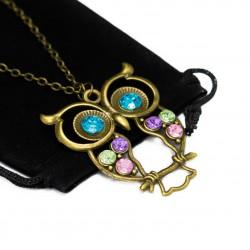 Collier sautoir fashion Hiboux avec des yeux bleus, pour femme fashion