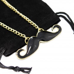 Women's golden long necklace with moustache pendant