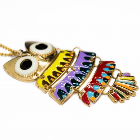 Women's golden long necklace with colorful owl pendant