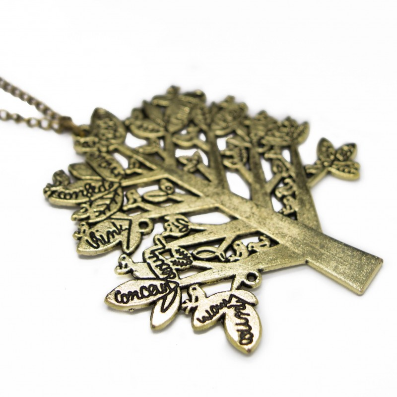 Women's golden long necklace with tree pendant