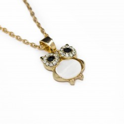 Women's golden long necklace with a black or white owl pendant