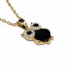 Collier pour femme avec un pendentif Hiboux noir ou blanc