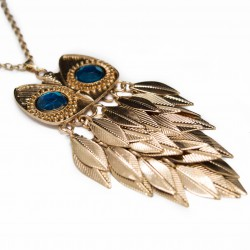 Women's golden long necklace with golden feathers owl pendant