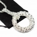Women's mesh textured long necklace and circle pendant