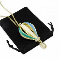 Collier sautoir avec un pendentif Montgolfière colorée pour femme