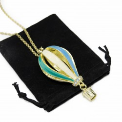 Women's golden long necklace with a hot-air balloon pendant